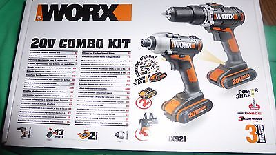 Worx Twin Pack Hammer Drill and Impact Driver Combi Kit 20, Charger, 2 Batteries