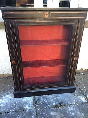 Nice Old Antique Victorian Ebonised Boxwood Inlaid Glazed Pier Cabinet Cupboard