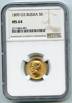 Russian GOLD 5 roubles 1899 NGC MS-64 UNC