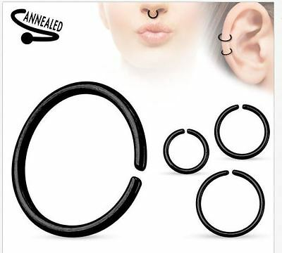 22g 20g 18g 16g 14g Seamless Annealed Black Hoop Ring Nose Lip Cartilage Septum