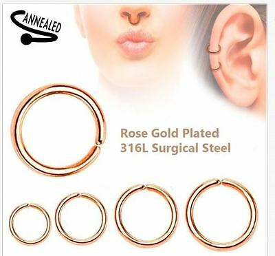 22g 20g 18g 16g 14g Seamless Annealed Rose Gold Hoop Ring Nose Lip Cartilage