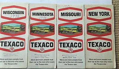 1970 Texaco Oil New York Minnesota Missouri Wisconsin Vintage Road Map Lot