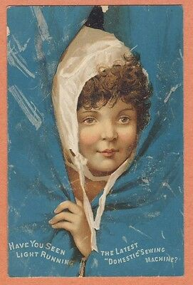 Victorian Trade Card - DOMESTIC SEWING MACHINES NW Hine girl ruffled bonnet peek