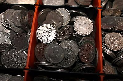 """BULK LOT of 5 BRITISH SIXPENCE COINS 6d  """"I've got a Tanner""""-"""