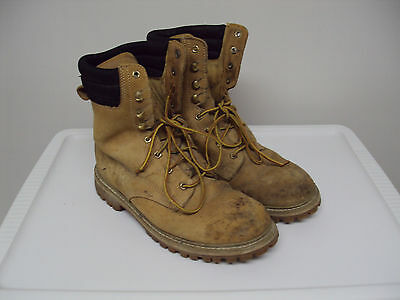 Mens Thinsulate Brown Leather Lace Up Steel Toe Work Boots Size 10 D