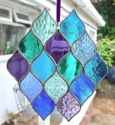 Blue Purple Green Teal Sea Colours Stained Glass Art Suncatcher by The Glass Sea