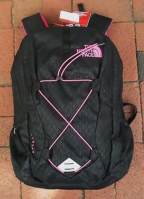 The North Face  Womens Jester Backpack- Laptop Sleeve-Chj3- Black Emboss / Pink