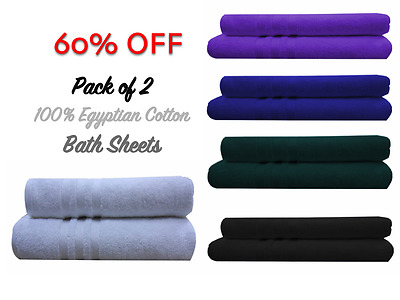 Luxury  Egyptian Cotton Super Bath Sheets Pack of 2 Extra Large Soft Towels Bale