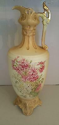 """Royal Wettina Austria Hand Painted Ewer 13"""" Tall w/Raised Flowers Gold Accents"""