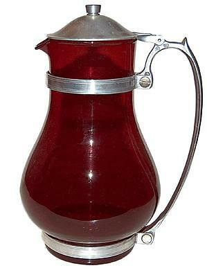 MacBeth Evans Ruby Batter Jug / Hostess Pitcher with Metal Lid and Handle