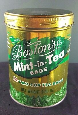 Vintage Gold and Green Boston's Mint-in-Tea Bag Collectible Tea Tin