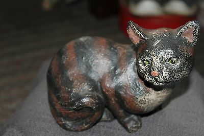 Vintage Wood/resin Carved Detailed Brown And Black Cat Figurine/statue