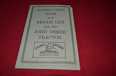 John Deere Instruction Book For Tractor Dealers Brochure DCPA8 Reproduction