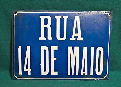 """Antique Large Plaque """" Street 14 May """" Enamel Blue & White Signed  """" G.R """""""
