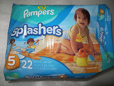 Pampers Splashers Size 5(30-40 LBS.) Swim Pants - 22 Count ~ BRAND NEW ~