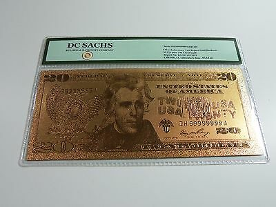 24K Gold Limited Edition US $20 Banknote Bill DC SACHS * FREE US SHIPPING *