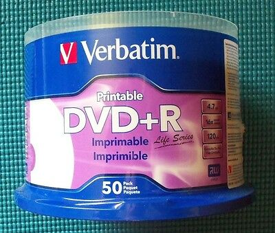 Verbatim DVD+R Life Series 50 Pack Spindle New Sealed