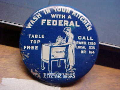 Commonwealth Edison Electric Shops FEDERAL Washer  Advertising Pocket Mirror