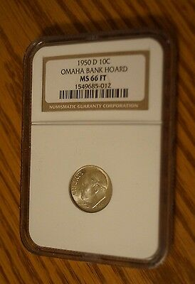 1950-D 10c Roosevelt Silver Dime NGC GRADED MS 66 FT  Omaha Bank Hoard