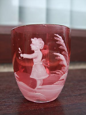 Rare Miniature Victorian  Cranberry Glass / Mary Gregory  Mug