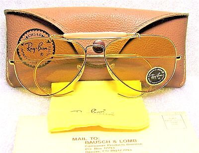 RAY-BAN *NOS VINTAGE 1970s B&L *RARE AVIATOR *AMBERMATIC *NEW SUNGLASSES & CASE