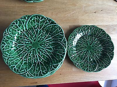 Eight Green Majolica  Vintage Cabbage Leaf SIDE/SALAD Plates   8""
