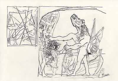 """Pablo Picasso  18x12 Pencil Drawing """" Blind Minotaur guided by a Young Girl"""""""
