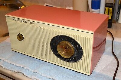 Admiral Y3012A Vacuum Tube Am Table Radio 1962 Coral Pink Pro Serviced