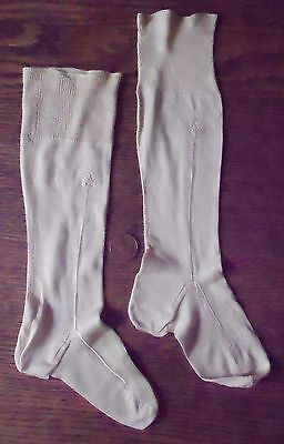 Antique Baby Knee Socks Ecru Silk Embroidered Ribbed Top Victorian