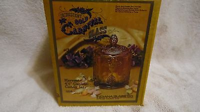 "Indiana Gold Carnival Glass Harvest Covered Canister/Candy Jar 4 1/2"" NIB"