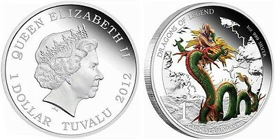 Tuvalu 2012 Dragon of Legend Chinese Dragon  $1 Silver Proof  Coin BOX COA