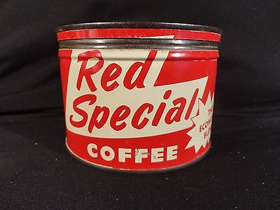 Vintage 1 Lb Red Special Economy Brand Coffee Tin Can Key Wind  Correct Lid