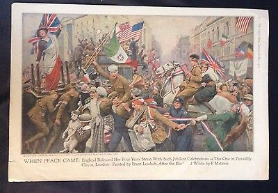 1919 WWI Painting ~ England Celebrates Great War End Piccadilly Circus~ Lesshaft