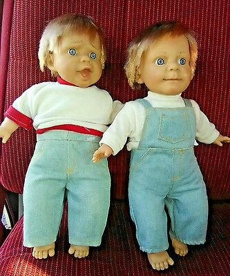 "2 Vintage Expressions by BERENGUER Dolls Boys Vinyl Stuffed Body 9"" tall 1980's"