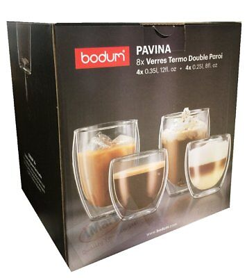 Set of 8 BODUM Pavina Double Wall Thermo Glasses Set 4 x 350ml + 4 x 250ml New