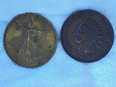 Vintage Oversized 3 Inch 1877 ndian Head Penny & $20 Gold Piece Novelty Coin Lot