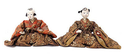 2 Antique Seated Japanese Dolls Gogun Face & Hands Brocade Clothing As Is