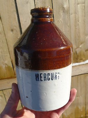 "VINTAGE 1920-30's ""MERCURY"" APOTHECARY & DENTISTRY STONEWARE POTTERY CROCK"