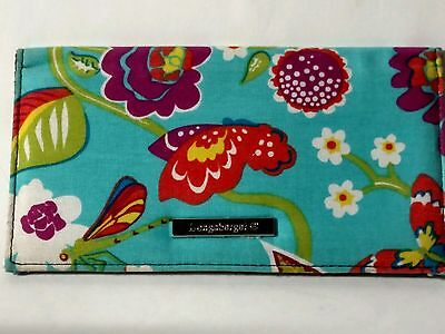 Longaberger Turquoise Floral Fabric Checkbook Cover - Butterflies & Flowers