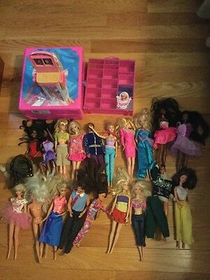 Lot Of Mattel Barbie Dolls With Carrying Case And Clothes And Shoe Holder
