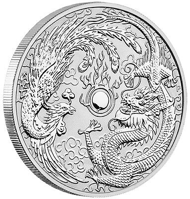 2017 1oz $1 Silver Dragon and Phoenix Bullion Coin Perth Mint
