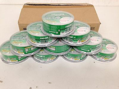 250 DVD-R 4.7GB Maxell Blank Recordable & White Printable Discs 16X 10x25 Pack