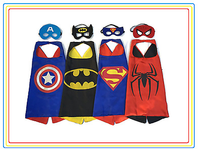 New Kids Superhero Four Cape & Mask Costume Set For Birthday and Party Favors