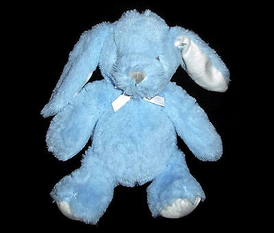 "10"" Blankets and Beyond Blue White Bunny Plush Soft Stuffed Animal Baby Lovey"