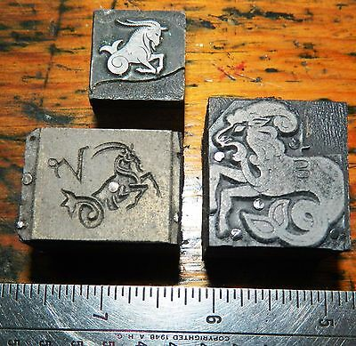 Letterpress Printing Printer Block Press Wood Metal Type Zodiac Aries Capricorn