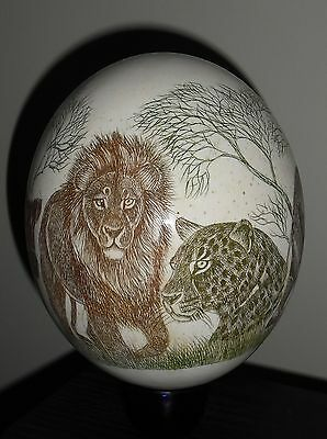 Beautiful hand carved Etched Ostrich egg Elephant Leopard Buffalo Lion Rhino