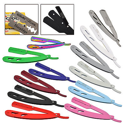 Barber Salon Straight Cut Throat Shaving Razor Shavette Rasoirs 12 Colours