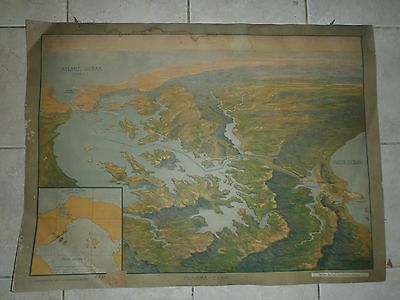 Original vintage pull down school chart of Panama Suez Canal