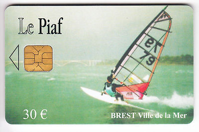 Piaf Parking Carte / Card .. Brest 30€ Orga Windsurf 07/09 I410 M2915 Chip/puce