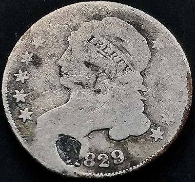 1829 Capped Bust Dime 10c Rare Early Dime Plugged   #5291